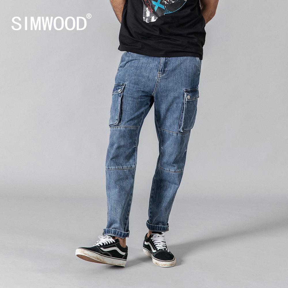 SIMWOOD 2019 summer new cargo   jeans   men fashion hip hop Spliced street wear ankle -length denim pants loose trousers 190332