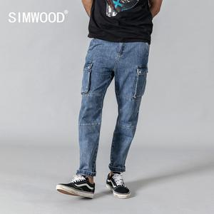 Image 1 - SIMWOOD 2020 spring new cargo jeans men fashion hip hop Spliced street wear ankle  length denim pants loose trousers 190332