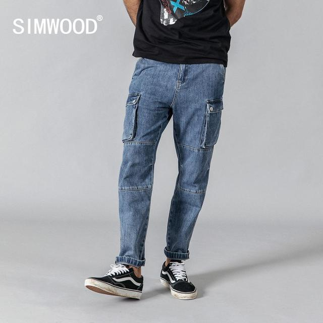 SIMWOOD 2020 spring new cargo jeans men fashion hip hop Spliced street wear ankle  length denim pants loose trousers 190332