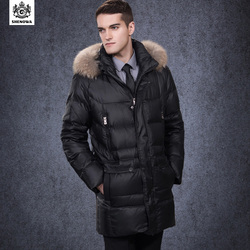 Men s clothing down jackets business long thick down jacket luxury raccoon fur collar.jpg 250x250