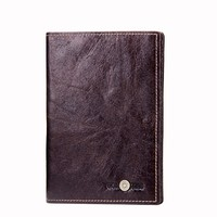 Yaphlee luxury Men's fashion leather documents clip crazy horse leather multifunctional couple passport bag