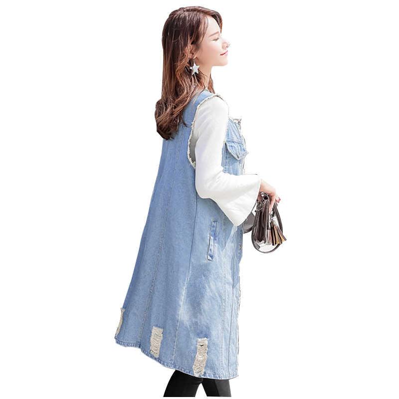 Летняя негабаритная джинсовая куртка с круглым вырезом длинный жилет женский кардиган-безрукавка модные рваные джинсы Верхняя одежда женские куртки жилет 5XL