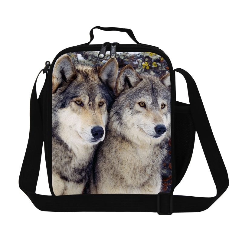 Dispalang fashion thermal bag thermos bag thickening kids lunch box wolf print portable lunch bag for teens mother baby food bag