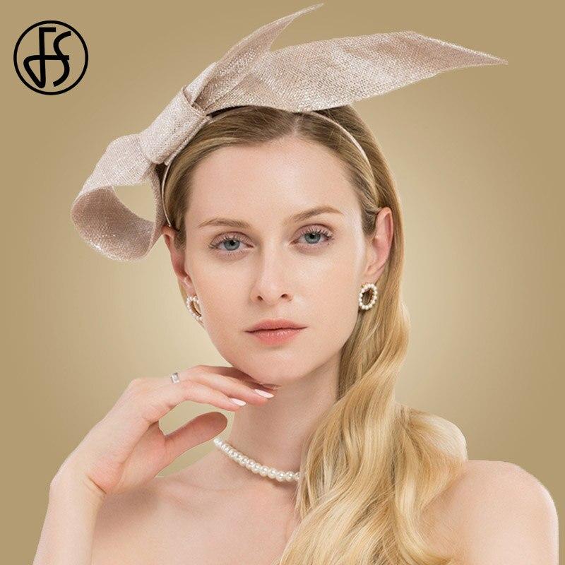 FS Ladies Sinamay Hats Fascinators For Wedding Women Hat Elegant Light Camel Church Pillbox Fedora Derby