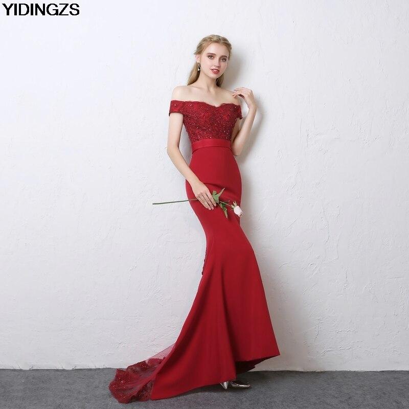 YIDINGZS Robe De Soiree Mermaid Burgundy Long   Evening     Dresses   Party Elegant Vestido De Festa 2019