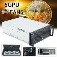6 GPU 4U Rackmount Шахтерская рама майнинга сервер чехол с 10 вентиляторами Rsiers рамка Rig