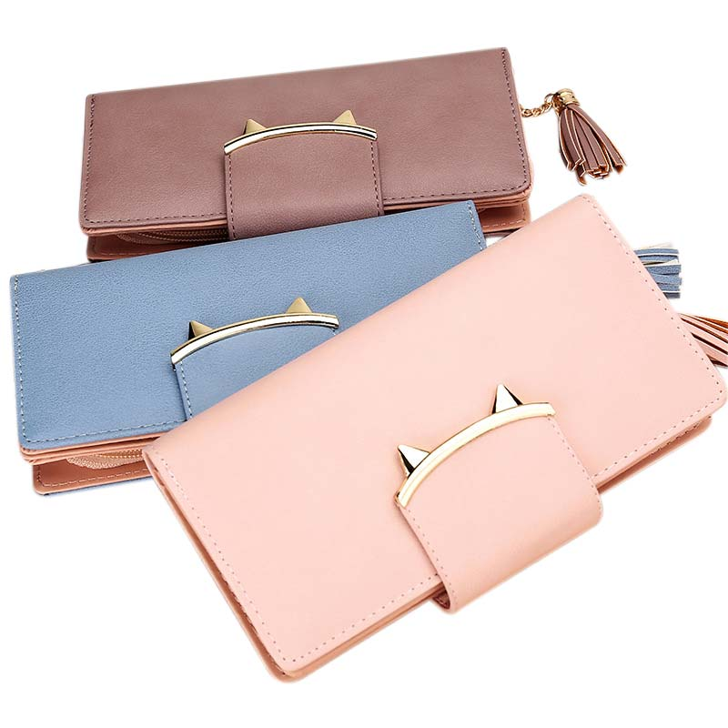 Fashion Women Girls PU Leather Wallet Long Coin Clutch Credit Card Holder Solid Hasp Purses with Tassel BS88 casual weaving design card holder handbag hasp wallet for women