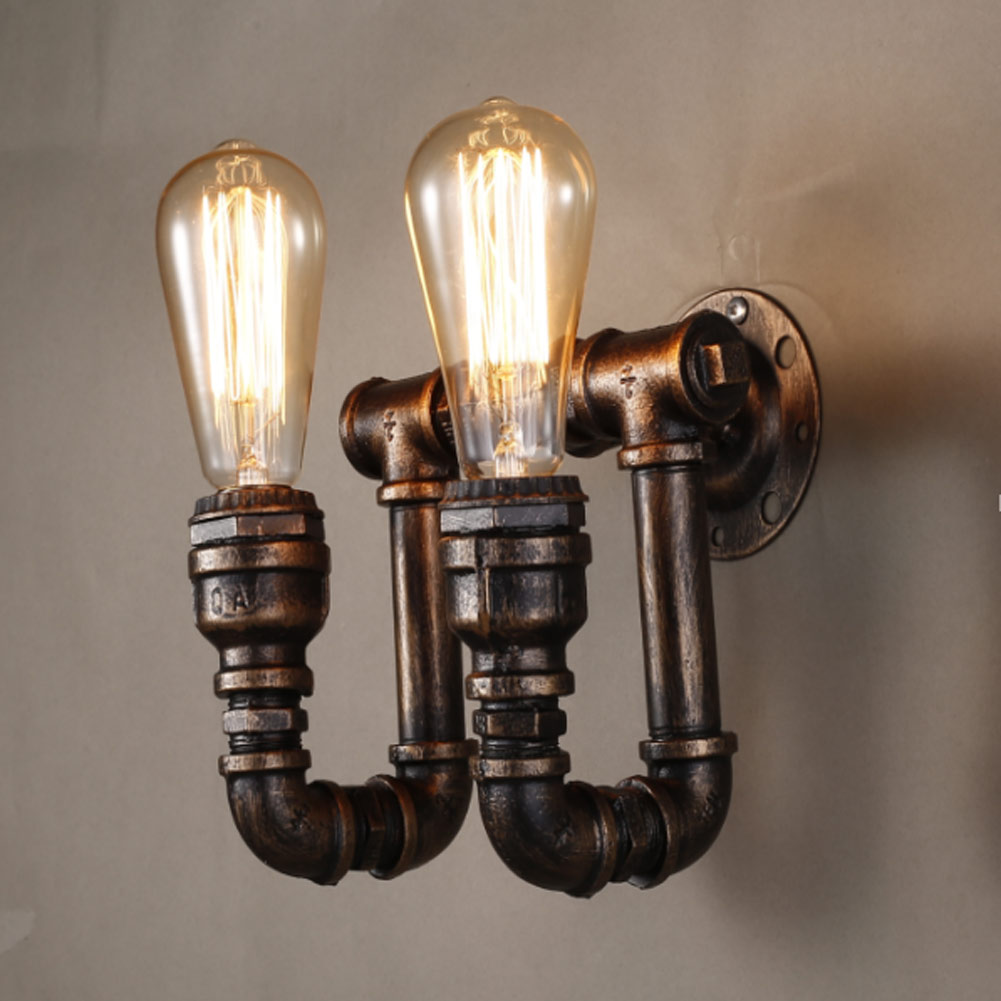 2 Bulbs Heads Retro Industrial Water Pipe Iron Wall Lamps Sconces E27 Wall Lights for Bedroom Living Room Restaurant Lighting art deco industrial iron butterfly retro water pipe table lamp e27 desk lights reading lamps night light for living room bedroom