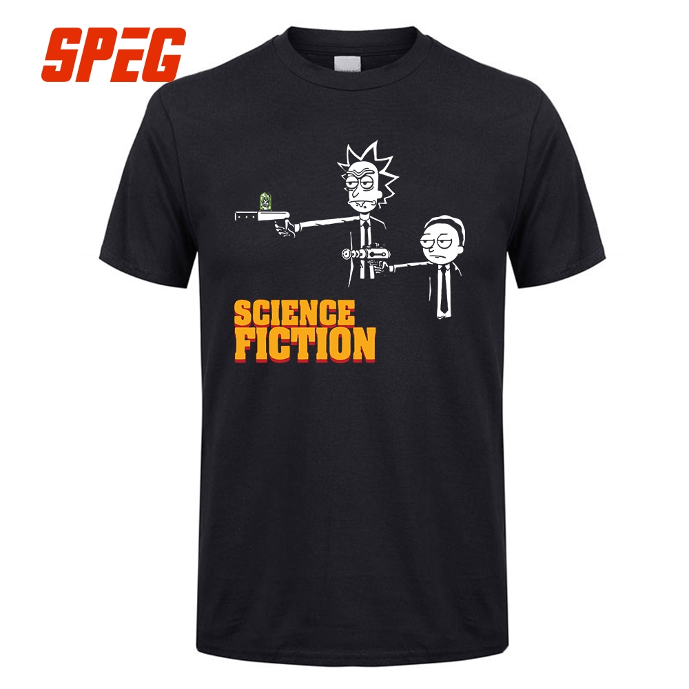 T     Shirt   Science Fiction Rick and Morty Pulp Fiction Tee   Shirts   Men Crew Neck Short Sleeve   T  -  Shirts   Popular 100% Cotton Big Size