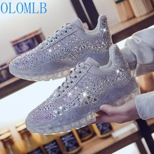 OLOMLB Luxury Rhinestones Lace Up Shoes Women Sneakers Spring Autumn Breathable PU Leather Women Flat Shoes Soft Footwears 35-40
