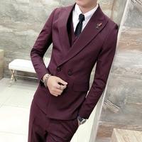 Top Quality Wine Red Men Blazer Slim Fit Casual British Style Gentlemen Suit Jacket Men Wedding Tuxedo Business Dress Blazer Men