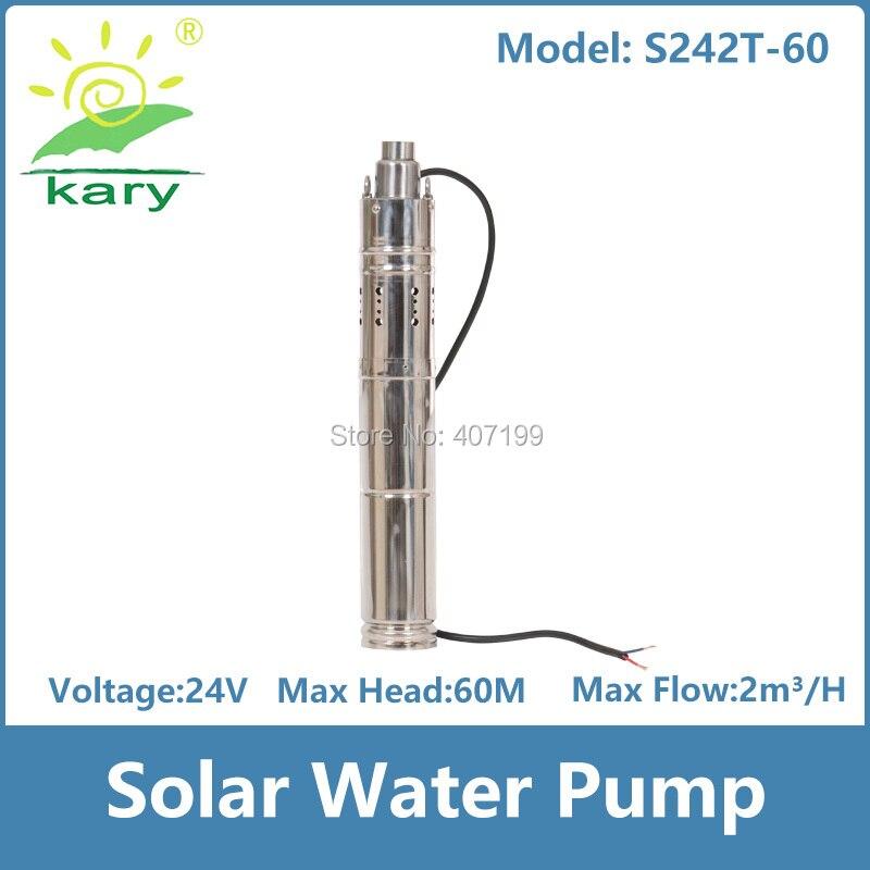 Kary 3 inches 24v 36v DC brushless submersible screw solar pump internal MPPT controller, max lift 60m 1 hp solar pump