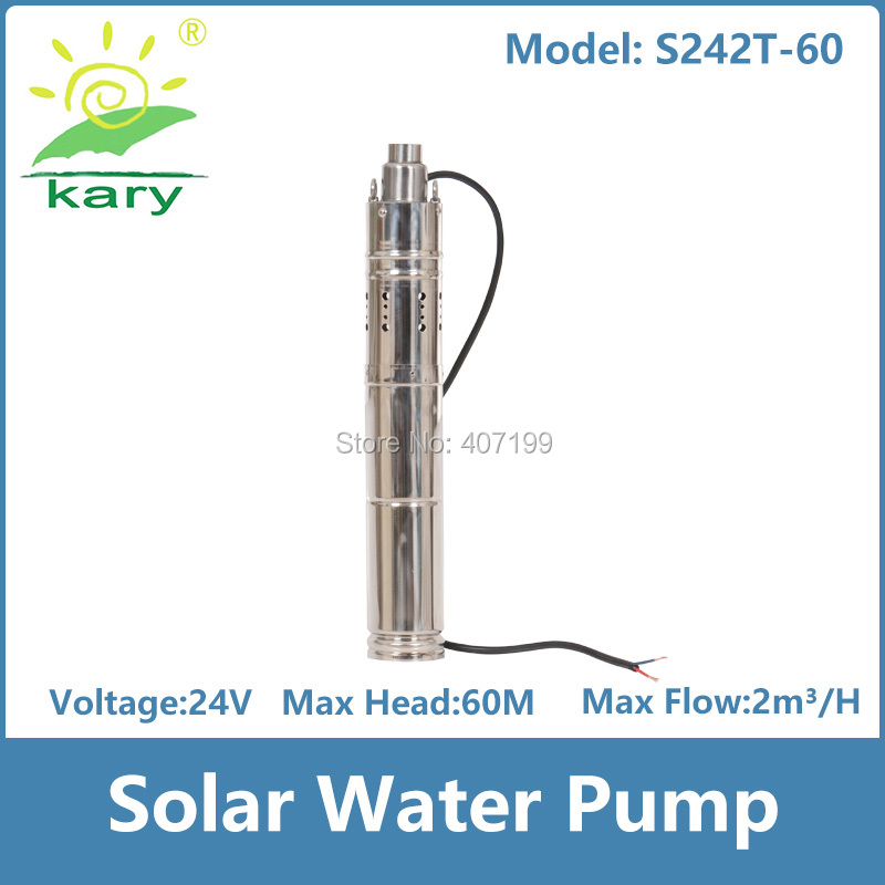 Kary 3 inches 24v 36v DC brushless submersible screw solar pump internal MPPT controller borehole solar water pump