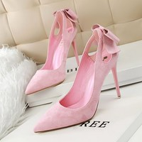 New Summer Women Pumps Sweet Cute Bow Thin High Heels Shoes Suede High Heeled Pointed Hollow