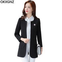 OKXGNZ Korean High Quality Women Jacket 2017Spring New Knitted Fabrics Ladies Basic Coat Solid Color Jackets