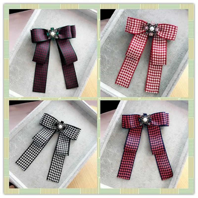 Korea Handmade Fabric Plaid Bowknot Rhinestone Pearl Shirt Pins Neck Bow  Tie Bowknot Accessories Fashion Jewelry 9c1ad0517528