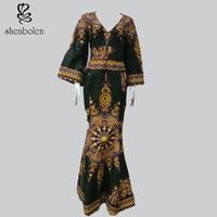 2017 African National Women S Clothing Cotton Batik Printing High End Wedding V Neck Long Sleeve