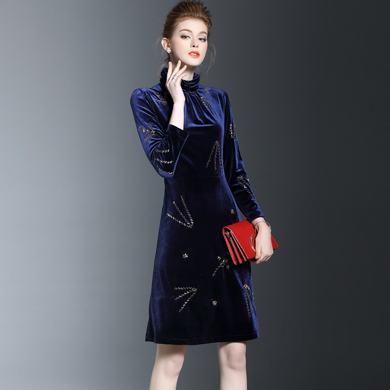 Col roulé velours Sexy gaine femmes robe 2019 printemps nouvelle couleur Pure haute qualité grande taille automne bleu Mini dame robes OK1382 - 6