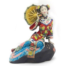 Chinese Beauty Porcelain Art Antiques Figurines Angel Collectible Pottery Glaze Ceramic Dolls Home Craft Decor Wedding