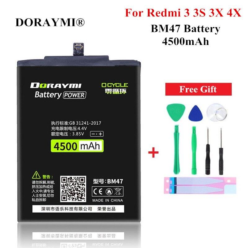 Bateria bm47 do telefone de doraymi 4500 mah para xiaomi redmi 3 3 s 3x 4x alta qualidade substituição baterias recarregáveis + ferramentas