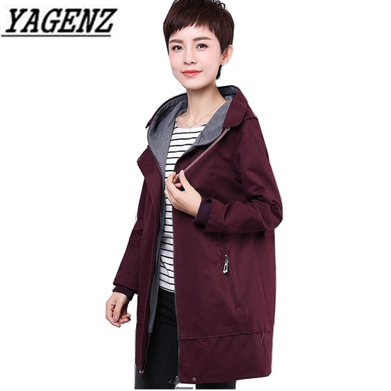 Middle-aged Lady Long-sleeved Hooded Windbreaker 2018 Spring Autumn Loose Embroidery Large size Casual   Trench   Female Coat 4XL
