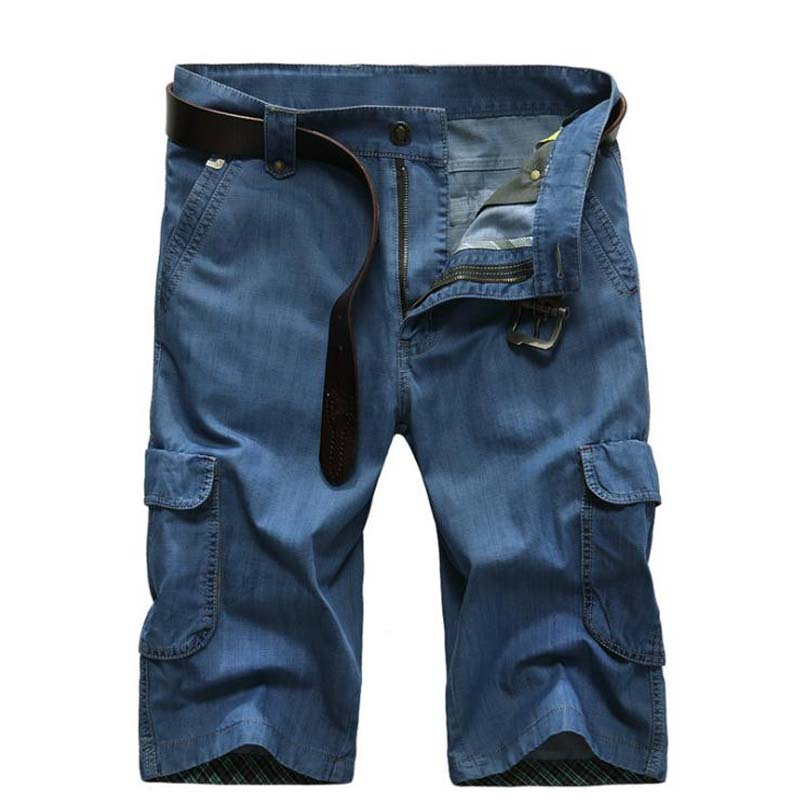 Summer Denim Shorts Pants Boardshort Mens Casual Jeans Shorts Multi 3D Pockets Straight Loose Baggy Men Cargo Shorts Plus Size mens casual blue jeans denim multi pocket loose outdoor straight legs cargo pants