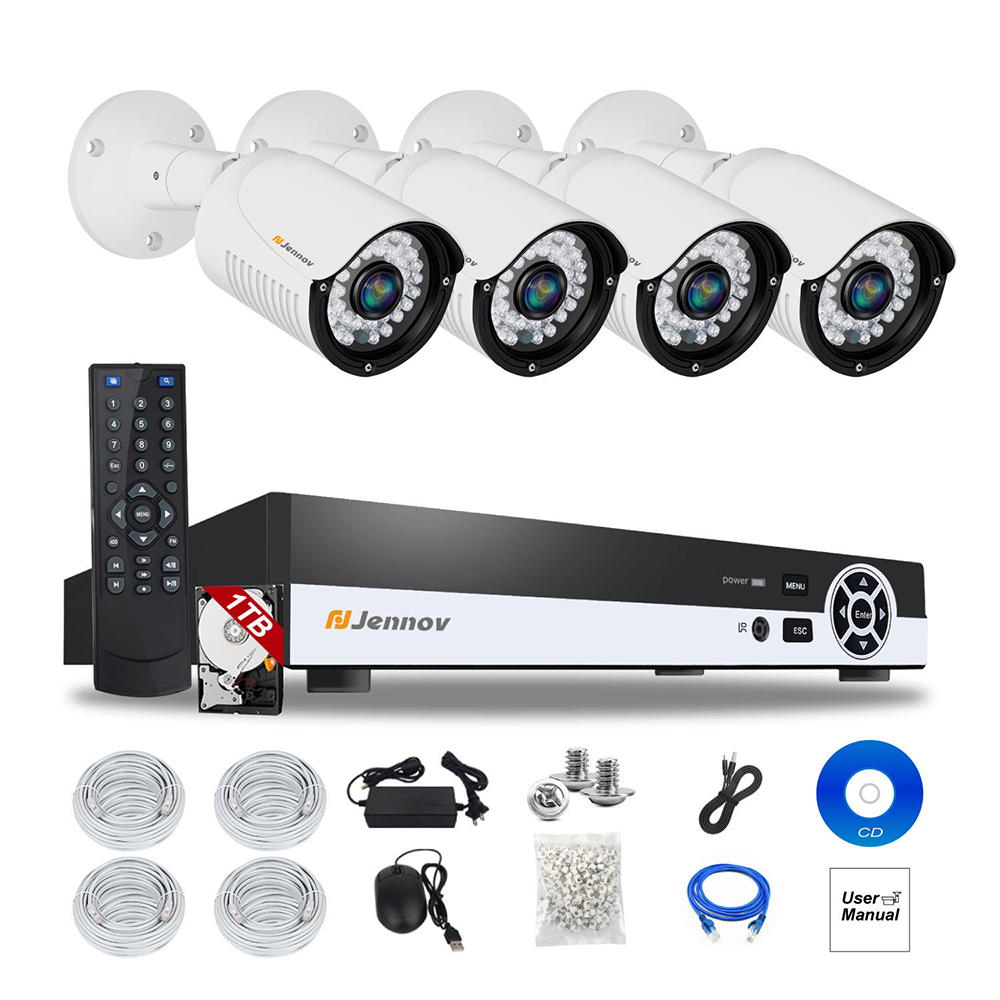 4CH 1080P 2MP POE NVR CCTV System IP Camera P2P Security Home Video Record Vision Surveillance kits Outdoor IR 2T Hard Drive
