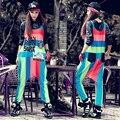 Nuevo 2016 del resorte mujeres del mono de la personalidad más tamaño mono de la raya floja Hip Hop mamelucos Womens Jumpsuit trajes