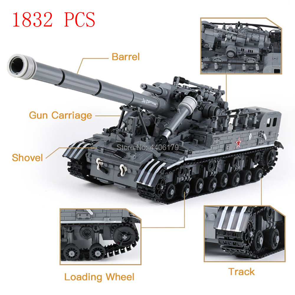 все цены на hot compatible LegoINGlys military moder WW2 war weapon US army T-92 tank Building Blocks MOC model brick toys for children gift