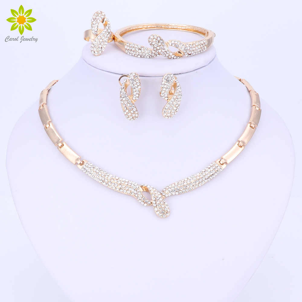 Wedding Bridal Crystal Jewelry Set For Women Party Fashion Choker Necklace Vintage Dubai Trendy Accessories