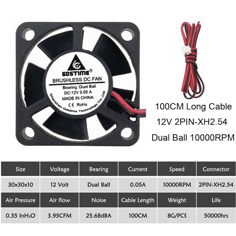 5 шт. Gdstime 3010 5 в 12 В 24 В 2Pin 3 см 30 мм 30x30x10 мм микро DC мини Бесщеточный кулер вентилятор охлаждения - Цвет лезвия: 12V Ball 100CM-Wire