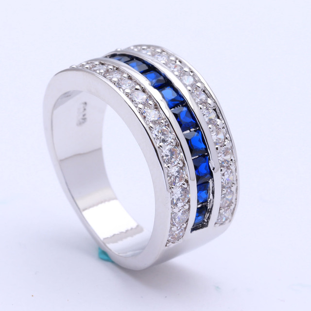 royal blue Czech zircon silver plated engagement ring for women