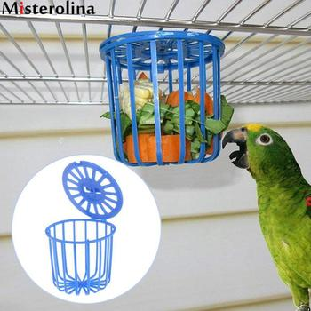 Blue Cute Pet Bird Parrot Feeder Cage Fruit Vegetable Holder Cage Accessories Hanging Basket Container Toys Pet Bird Supplies