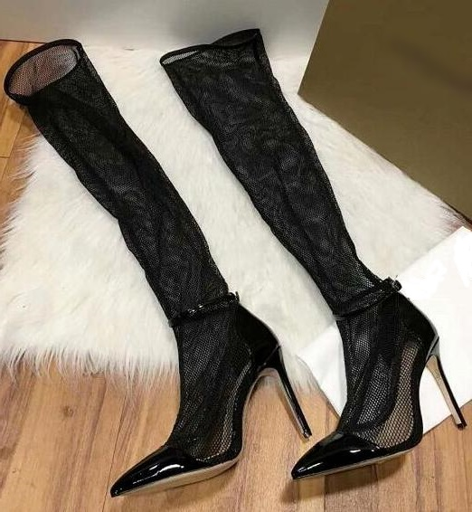 Newest Fashion Lace High Heel Boots Women Over the Knee Pointed Toe Thin Heel Long Boots Summer Black Party Shoes