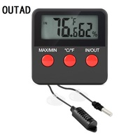 Sucked Type Digital Indoor Outdoor Thermometer Hygrometer Mini Temperature Humidity Gauge With Remote Probe Easy Installation