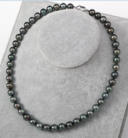 AAA 10 11 mm natural Tahitian black pearl necklace 18inch