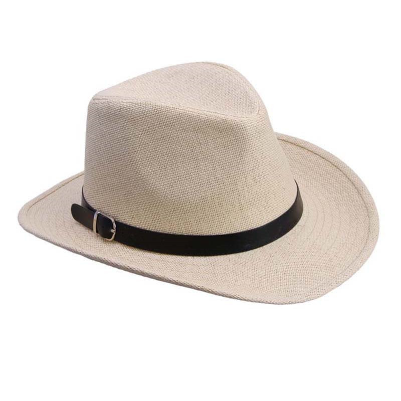 f775822db8734 Summer Men Hat Straw Hat Cowboy Hat Fashion WESTERN COWBOY Cavalry Hatband  HOT Black White Brown Light coffee Coffee Brown-in Cowboy Hats from Apparel  ...