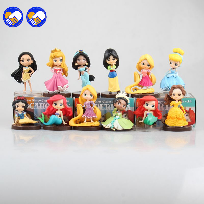 Princesses Toys 3pcs/Set 5-8cm Snow White Elsa Ariel Bella Tinker Bell Pvc Action Figure Doll Kids Toys Gift princesses toys snow white merida rapunzel belle tiana ariel jasmine mulan pvc figures gifts for girl 11pcs set