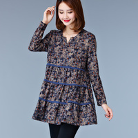 High Quality Spring Style Printed Blouses TopS Plus Size M 5XL Lace Printed Casual Cute Women