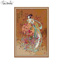 Joy Sunday Chinese Style Cross Stitch Patterns Classical Beauty Counted Aida 14ct Embroidery Canvas DIY Needlework
