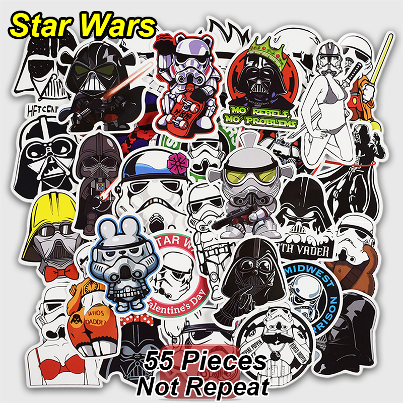 Online shop 55 pcs star wars stickers for skateboard laptop luggage car styling waterproof decal home decor toy creative cool sticker aliexpress mobile