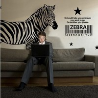 DCTAL Africa Zebra Wall Sticker Wall Decors Wall Covering Home Decor