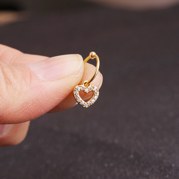 Sellsets New gold heart hexagon crystal tragus daith earrings helix cartilage hoop septum nostril piercing jewelry 1