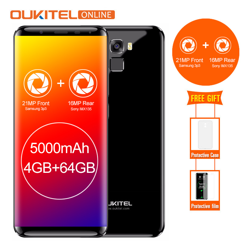 Oukitel K5000 5000mAh 5.7″HD 18:9 Display 4GB RAM 64GB ROM MTK6750T Octa Core Smartphone  Fast Charge 4G Fingerprint Cellphone