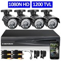 Комплект кабельного видеонаблюдения HD DEFEWAY формата качества 1080P, включающий в себя 4-канальный видеорегистратор, 4 камеры формата 720P  1200ТВЛ