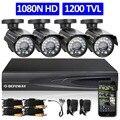 Defeway hd 1080 p hdmi 4ch sistema de cctv kit dvr 4 canais 720 p gravador de vídeo com câmera de segurança 1200tvl de vigilância em casa