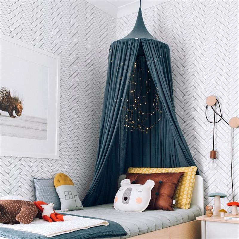 Nordique bébé chambre décoration murale porte unique suspendus Net enfants chambre décor coton enfants filles manteau filets tentes