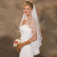 Hot Sale White Ivory Wedding Veils With Satin Edge Two Layer Bridal Veil With Comb Women