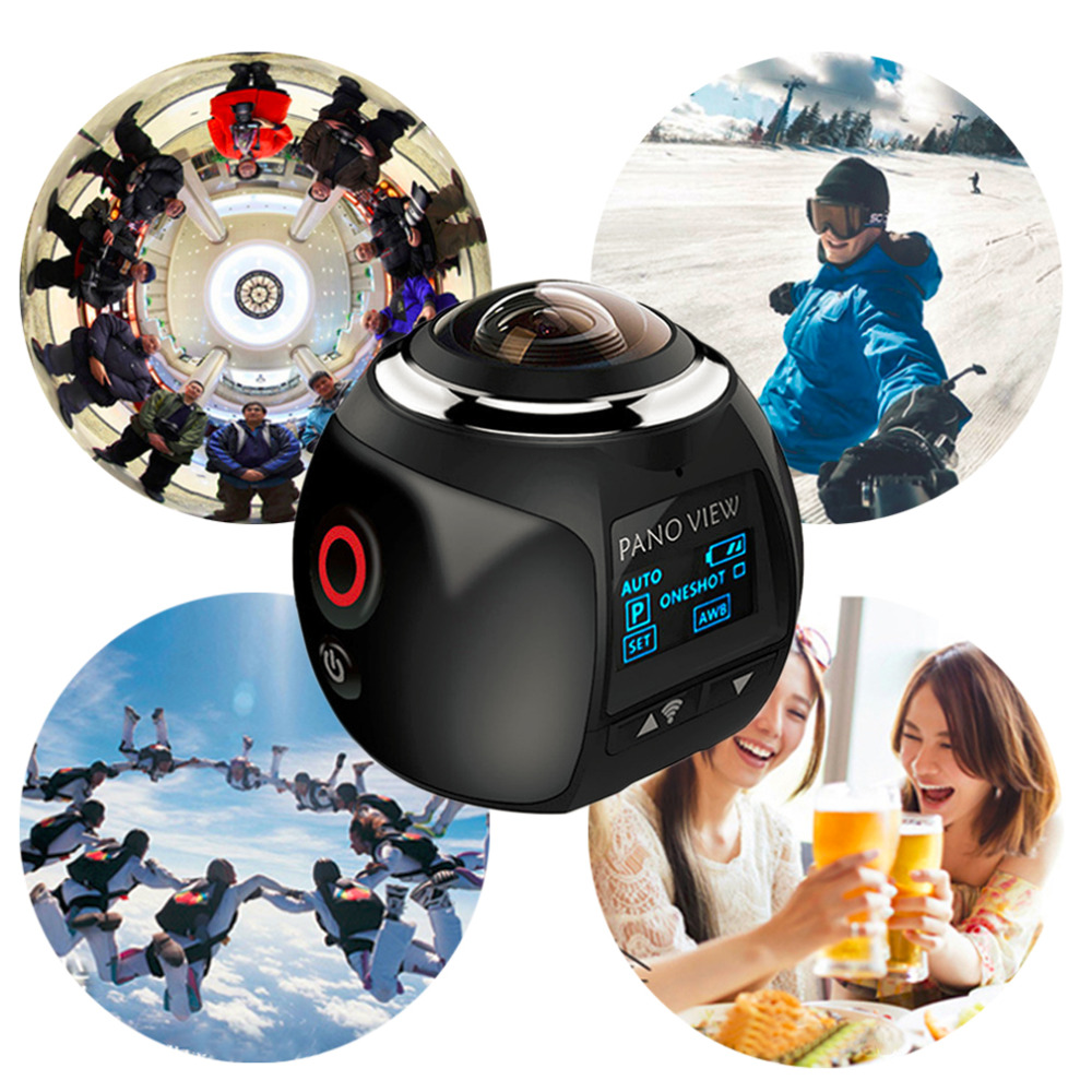 360 Action Camera Wifi Mini Panoramic Camera 2448*2448 Ultra HD Panorama Camera 360 Degree Waterproof Sport Driving VR Camera soocoo 360 degree action video camera wifi 4k 24fps 2 7k 30fps ultra hd sport driving 360 camera with remote control