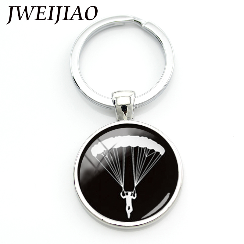 JWEIJIAO Llaveros Porte Clef Charming Daring Sports Sky Diving Parachuting Chain Go Skydiving Parachute Keychain Custom